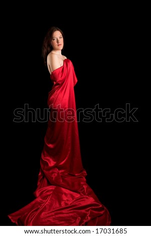 Young beautiful girl on black isolated background