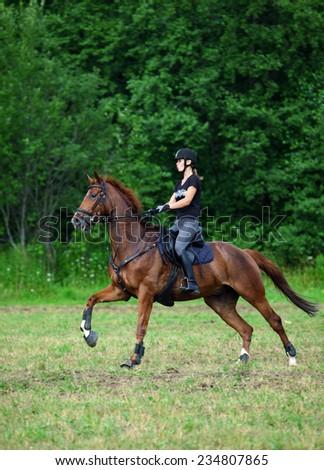 Young beautiful girl on horse walk - stock photo