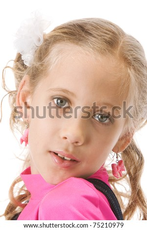 Young beautiful girl posing in studio over white background