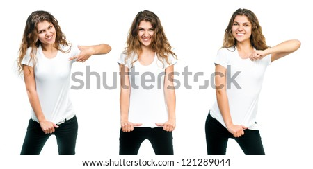 Young beautiful girl posing with blank white shirts.