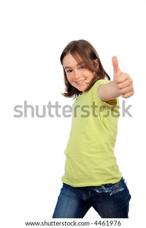 Young beautiful girl showing Ok sign - stock photo