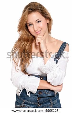 Young beautiful girl thinking expression isolated on white background - stock photo