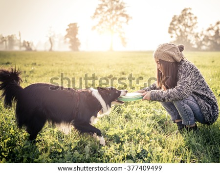 Young beautiful girl throwing frisbee to her dog in a park at sunset - Pretty woman playing with her dog - stock photo