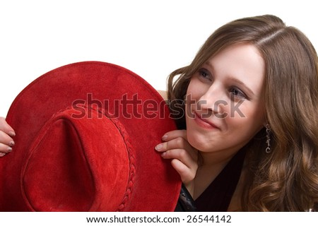 young beautiful girl with a red hat. Isolation on a white background - stock photo