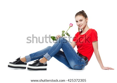 Young beautiful girl with a rose. isolated - stock photo