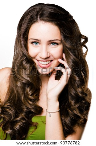 Young beautiful girl with a smile on her face - stock photo