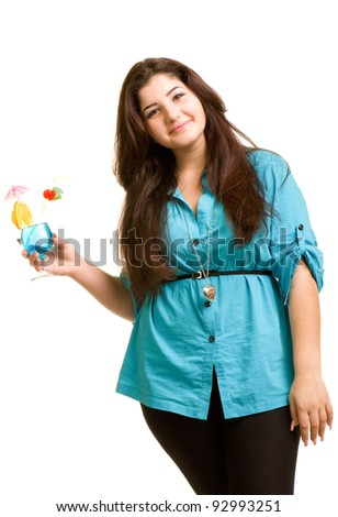 Young beautiful girl with alcohol cocktail isolated on white background - stock photo