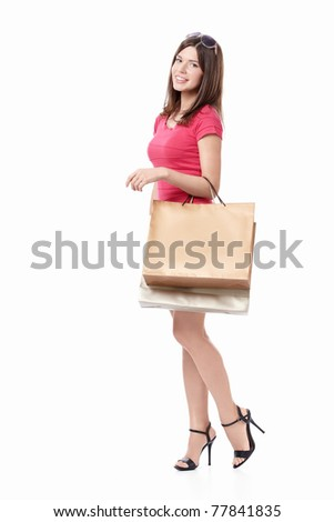 Young beautiful girl with bag isolated - stock photo