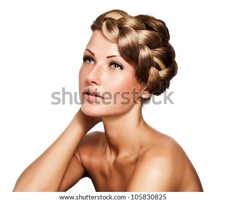 young beautiful girl with braid , hairstyle - stock photo