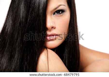 Young beautiful girl with long black hair. - stock photo