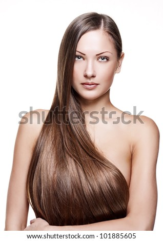 young beautiful girl with  long hair - stock photo