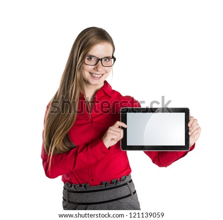 Young beautiful girl with pc tablet on white isolated background. - stock photo