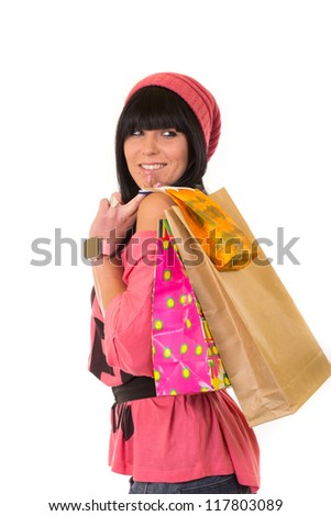 Young beautiful girl with shopping bags - stock photo