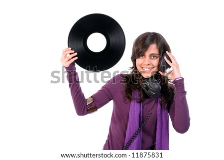 Young Beautiful girl with vinyl and headphones, isolated on white background