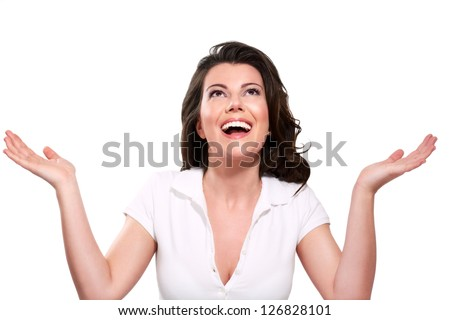 Young beautiful happy expressive woman on white - stock photo