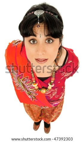 young beautiful happy woman in a hindu dress, isolated on white, full body picture - stock photo