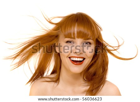 young beautiful happy woman smile isolated - stock photo