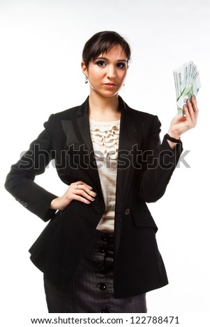 young, beautiful, happy woman with a bundle of money