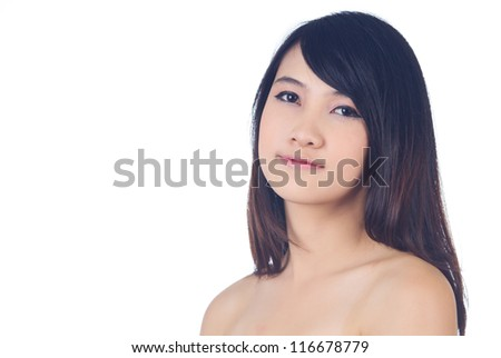 Young beautiful healthy asian woman on white background - stock photo