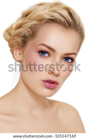 Young beautiful healthy blond girl with braids and clear make-up on white background - stock photo
