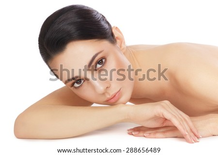Young beautiful healthy woman over white background - stock photo