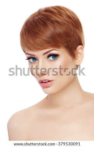 Young beautiful healthy woman with stylish make-up and hair cut over white background, copy space - stock photo