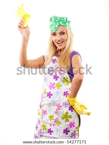 young beautiful housewife in yellow rubber gloves