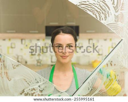 young beautiful housewife washing window at home - stock photo