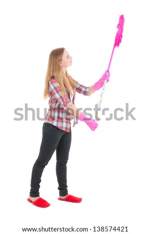 young beautiful housewife with pink mop isolated on white background - stock photo
