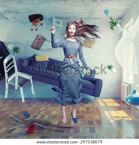 young beautiful lady fly in zero gravity room. Photo combination creative concept - stock photo