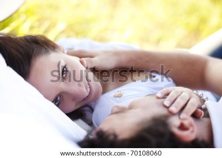 Young beautiful loving couple close portrait. - stock photo