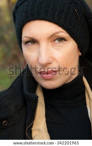 young beautiful melancholic woman - stock photo