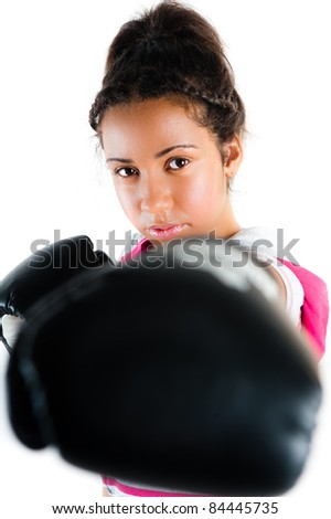 Young beautiful mixed race boxing teenager, punch and jab with expression - isolated on white - stock photo