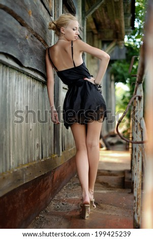 Young beautiful model girl posing  - stock photo