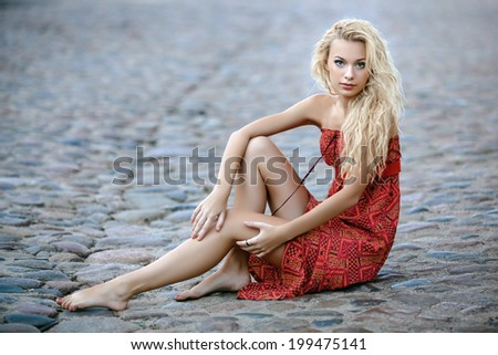 Young beautiful model girl posing