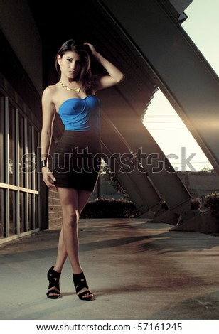 Young beautiful model girl posing - stock photo