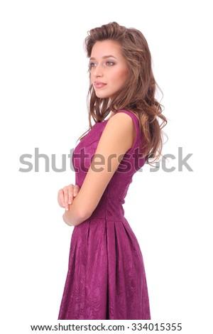 young beautiful model girl wearing fuchsia dress - stock photo