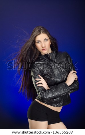 Young beautiful model girl with long hair