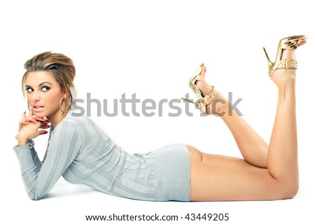 young beautiful model posing, over white background - stock photo