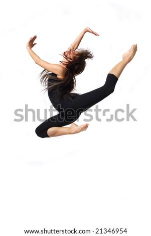 young beautiful modern ballet dancer posing - stock photo