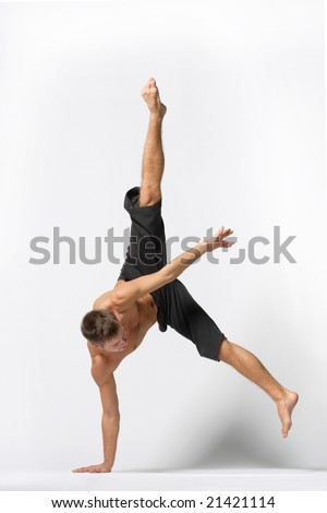young beautiful modern ballet dancer posing - stock photo
