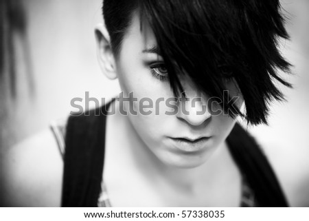 Young beautiful modern looking girl portrait.