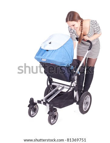 young beautiful mother with baby buggy (stroller)