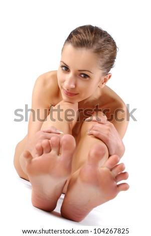 Young beautiful naked woman - stock photo