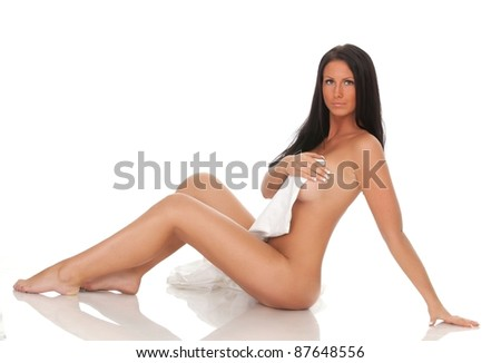 young beautiful nude girl isolated on white background