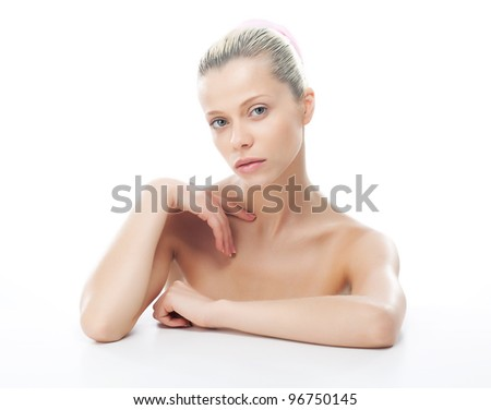 Young beautiful nymph female with healthy clean skin on her face and body. Natural soft makeup - stock photo