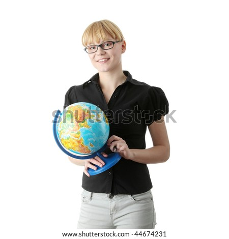 Young beautiful optimistic student woman with a globe, isolated on white - stock photo