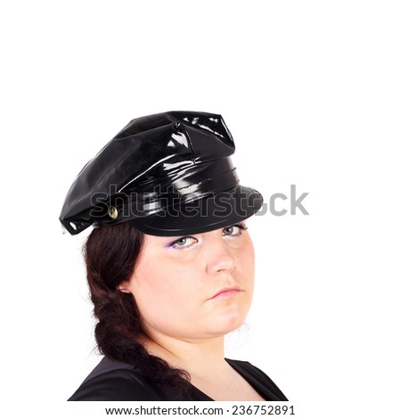 young beautiful police woman with the gun and handcuffs - stock photo