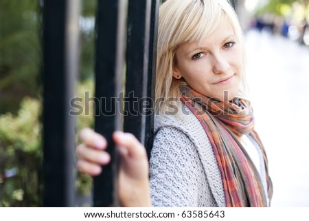 Young beautiful  portrait of a blond girl. - stock photo