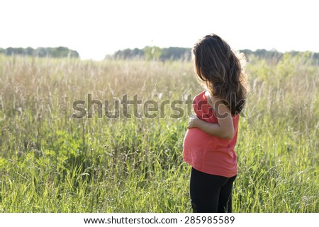 Young beautiful pregnant woman holding tummy, in red a light summer dress, on the summer meadow in the grass in the bright sunny day. - stock photo